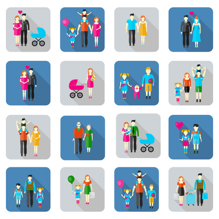 prams: Family and people flat icons set. Daughter grandfather grandmother baby father son mother husband brother sister wife. Vector illustration