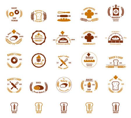 logos restaurantes: Logotipos Vector panader�a fijados. El pan y pastel, comida y tienda