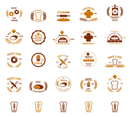 Vector bakery logos set. Bread and cake, food and shop