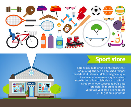 Sport store. Sports equipment and sports clothing