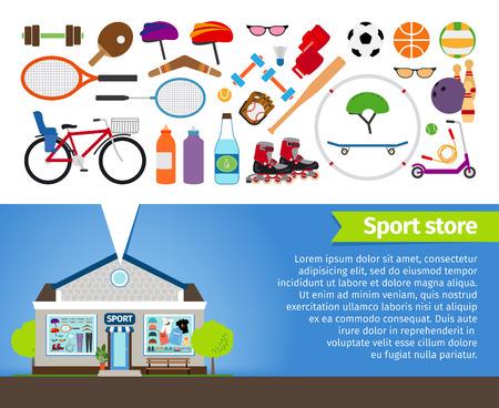 icono deportes: Tienda de deportes. Material deportivo y ropa deportiva Vectores