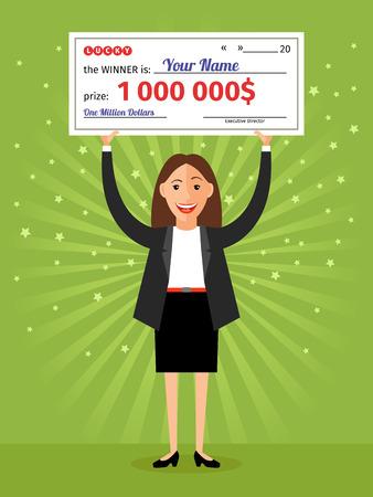 loteria: Mujer con cheque por un mill�n de d�lares en las manos