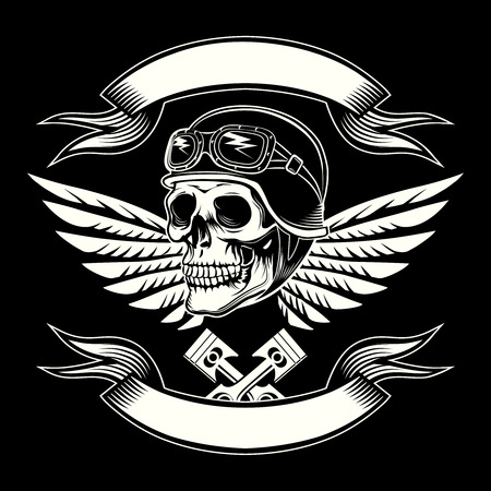 Motor skull vector graphic. Motorcycle vintage design  イラスト・ベクター素材