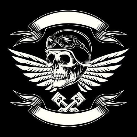 motor race: Motor schedel vector graphic. Motorcycle vintage design Stock Illustratie