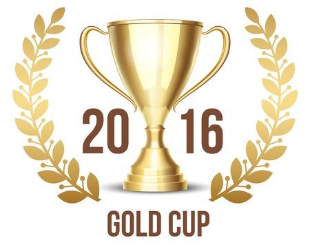 Taza del trofeo con corona de laurel 2016