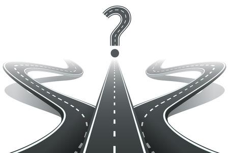 Drie wegen en vraagteken. Het kiezen van het juiste pad-concept Stock Illustratie