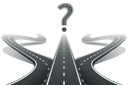 Three roads and question mark. Choosing the right path concept Vectores