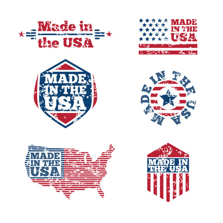 made in the usa: USA labels with grunge effect