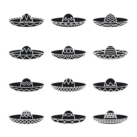 trajes mexicanos: Vector conjunto de sombrero sombrero mexicano Vectores