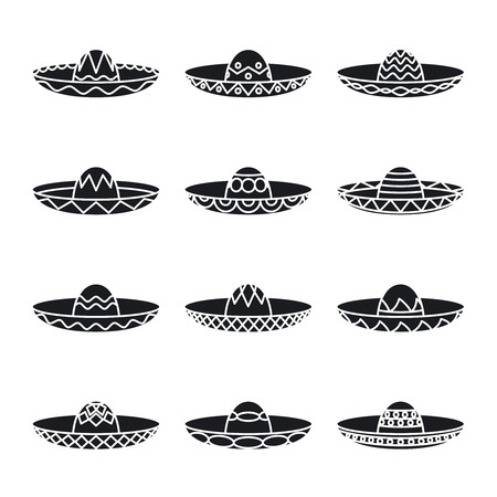top black hat: Vector set of mexican sombrero hat Illustration