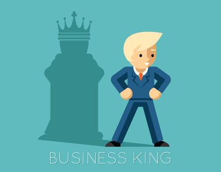 비즈니스 왕. 체스 킹 등의 그림자와 사업가 일러스트