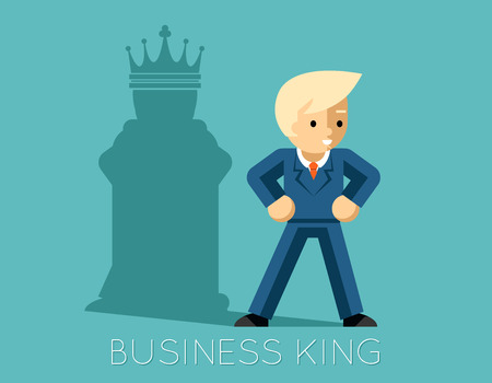 Business king. Businessman with shadow as chess king