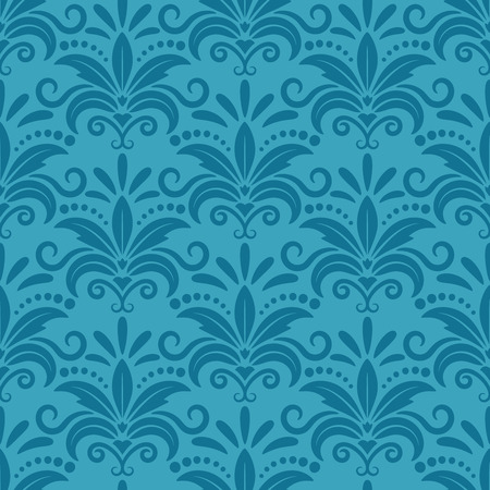 wallpaper floral: Royal wallpaper with damask seamless floral pattern. Decor textile, texture darkturquoise, decorative silk design. Vector illustration Illustration