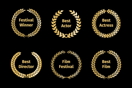 a collection of awards icon: Film awards wreaths Illustration