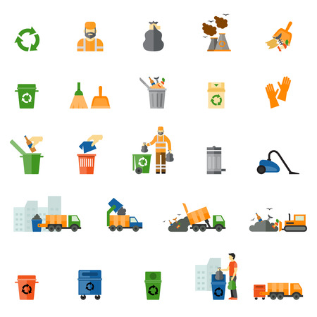 cesto basura: Basura y la basura iconos planos establecidos