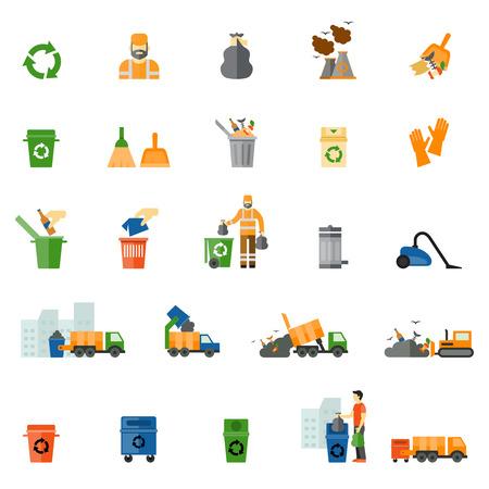 raccolta differenziata: Rifiuti e spazzatura icone piane impostate Vettoriali