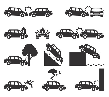 Auto-ongeluk en ongevallen icon set Stock Illustratie
