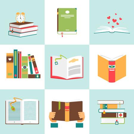 libro abierto: Conjunto de libros en diseño plano. Literatura y biblioteca, la educación y la ciencia, el conocimiento y el estudio, ilustración vectorial Vectores