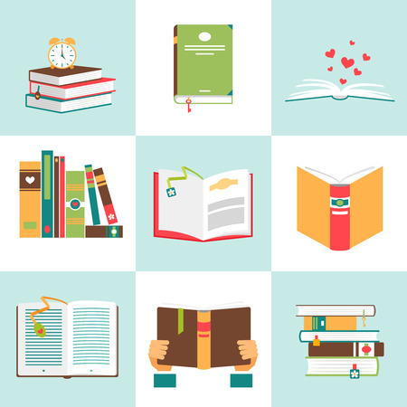 libraries: Set of books in flat design. Literature and library, education and science, knowledge and study, vector illustration