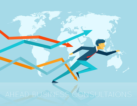 good work: Ahead business consulting. Solution and professional intelligence, leader and work, success  job and ambition, vector illustration