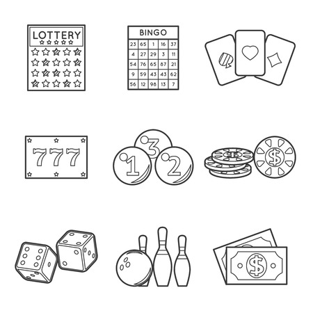 gamble: Lottery vector icon set. Dollar and bowling, dice and blackjack, poker and chance, bingo and jackpot, fortune and gamble Illustration