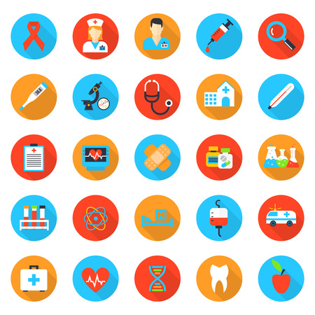 Medicine and health care flat icons. Hospital and health, emergency and aid, doctor and pharmacy, vector illustration