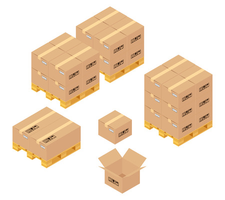 palet: Cajas de cartón en almacén. Servicios de almacenamiento, entrega y logística. Transporte y almacenamiento, contenedores y palets, transporte y producto. Ilustración vectorial Vectores