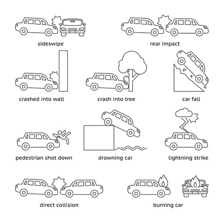 fatal: Car crash or insurance line icons. Cliff down move, fatal smash, sideswipe and burning, lightning drowning, vector illustration
