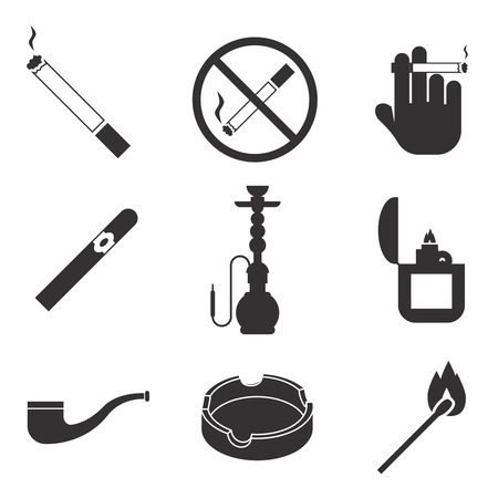 nicotine: Vector smoking icons set. Cigarette and tobacco, lighter gasoline, cigar and nicotine, pipe and hookah
