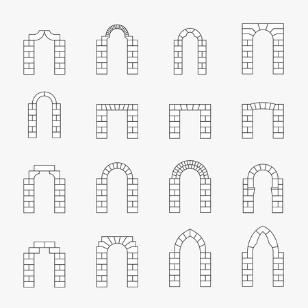stone arch: Black icons of vector arch silhouette. Line and exterior, stone ancient, architectural column