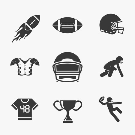 american football helmet set: Rugby and american football icons set. Ball for rugby, game and goal,  trophy touchdown and helmet, vector illustration