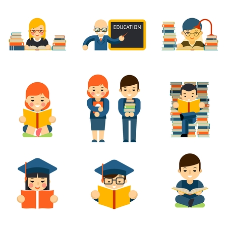 Los estudiantes y los niños a leer y aprender de estudio en la sala de clase
