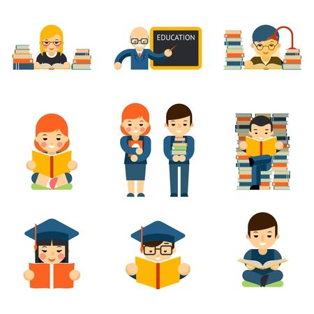 Studenten en kinderen lezen en leren studeren in klas Vector Illustratie