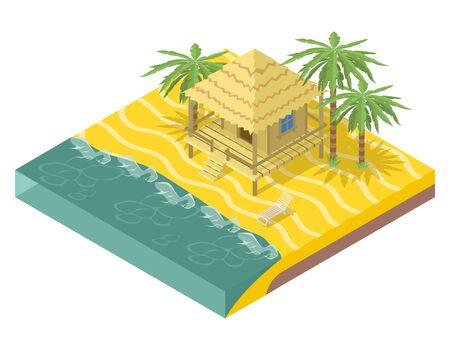 방갈로: 비치 부동산. 야자수 오션 하우스. 요소 아이소 메트릭 3D, 방갈로, 열대와 물, 섬 여행, 벡터 일러스트 레이 션