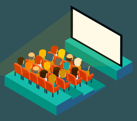 cinema screen: Empty cinema screen with audience. Isometric in flat style. Film show, seat and presentation, entertainment and auditorium, vector illustration