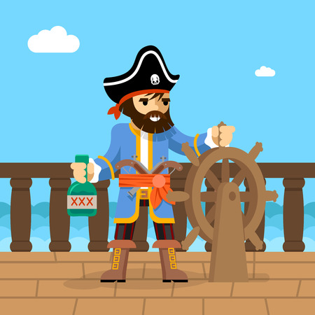 ships: Filibuster. Captain of  pirate ship standing on deck at helm with bottle of rum. Vector illustration