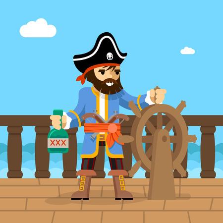 filibuster: Filibuster. Il capitano della nave pirata in piedi sul ponte al timone con una bottiglia di rum. Illustrazione vettoriale