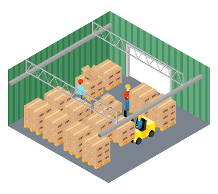 Warehouse interior. Industry and storage pallet, storekeeper and cargo business, parcel delivery, vector illustration Illustration