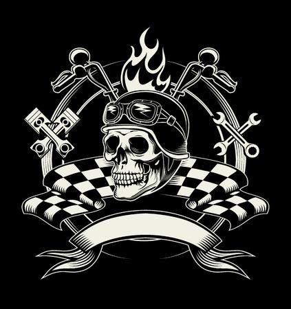 motor race: Vector biker embleem met schedel of dode motorcoureur. Snelheid fietser, ruiter en cross moersleutel en vlag