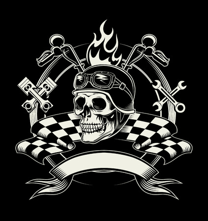 Vector biker emblem with skull or dead motorcycle racer. Speed biker, rider and cross wrench and flag