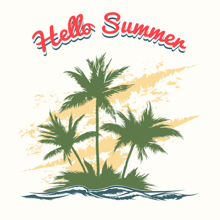 island paradise: Handmade summer illustration with palm trees. Island paradise, leisure and ocean, recreation decoration banner, vector tropical vacation Illustration