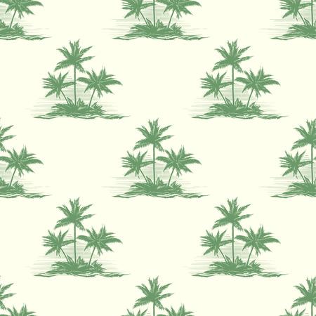 palmeras: Vintage floral patrón transparente o verano con palmeras. Exotic tropical, descanso paisaje, silueta isla, ilustración vectorial Vectores