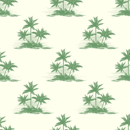 Vintage floral or summer seamless pattern with palm trees. Exotic tropical, landscape rest, silhouette island, vector illustration