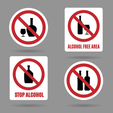 No alcohol and alcohol free area vector signs. Symbol forbidden alcoholism and booze, ban and stop icons Çizim