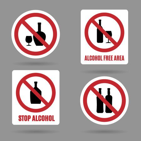 alcoholismo: No hay alcohol y el alcohol de la zona libre de se�ales vectoriales. S�mbolo alcoholismo prohibido y licores, prohibir y dejar de iconos Vectores