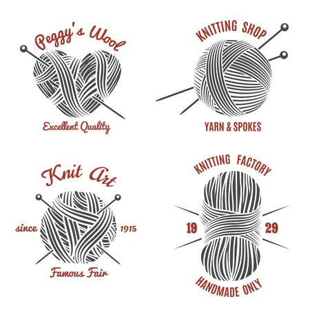 gomitoli di lana: Etichette per maglieria e maglieria logo set. A mano e maglia, lana e ago, filo palla, illustrazione vettoriale