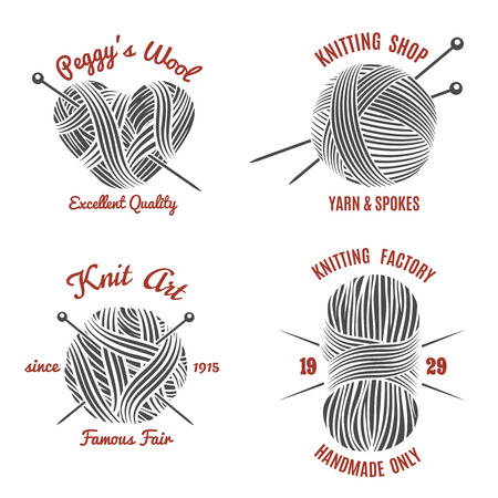 Knitting labels and knitwear logo set. Handmade and knit, wool and needle, yarn ball, vector illustration Illustration