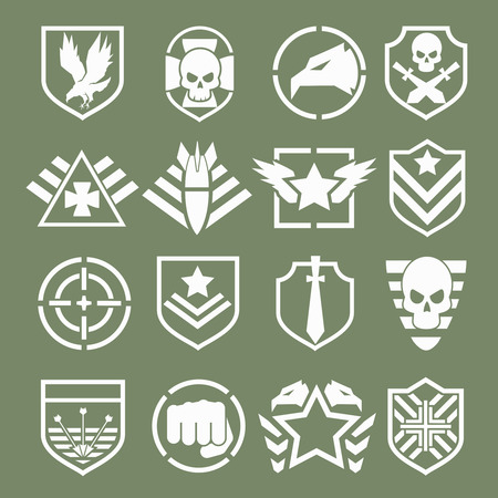 soldado: Logotipos militares de fuerzas especiales establecidos. Escudo del Ejército, ala y el cráneo. Ilustración vectorial