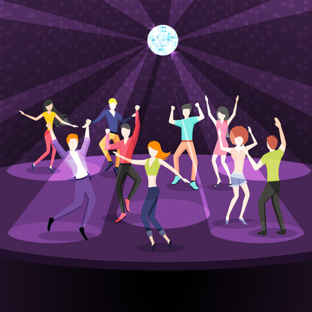 nightclub: People dancing in nightclub. Dance floor in flat style design. Party disco, music and nightlife, youth and event. Vector illustration