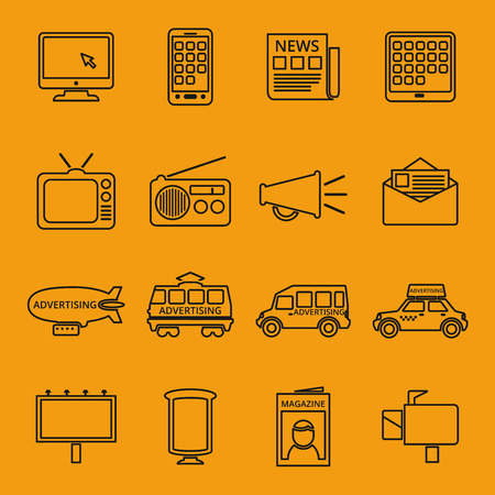 internet radio: Advertisement and marketing line icons set. Email and television, radio and internet, content multimedia. Vector illustration Illustration